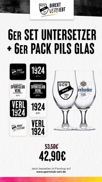 Aktion 6er Set Untersetzer + 6er Pack Pils Glas
